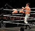 Andrade Cien Almas elevated DDT on Aleister Black.jpg