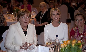 Ivanka Trump - Angela Merkel, Ivanka Trump, and Chrystia Freeland at the W20 Conference Gala Dinner in Berlin, April 2017
