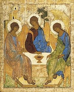 Pieza de la iconografía rusa conocida como La Santa Trinidad de Rublev