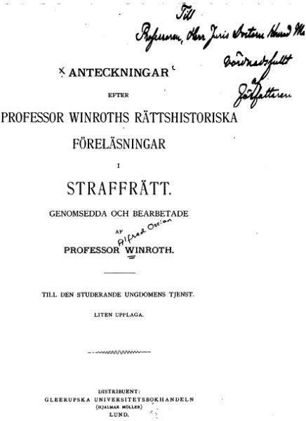 File:Anteckningar efter professor Winroths rättshistoriska föreläsningar i straffrätt.djvu