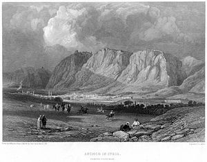 Roman–Parthian War of 161–166 - Antioch from the southwest (engraving by William Miller after a drawing by H. Warren from a sketch by Captain Byam Martin, R.N., 1866)