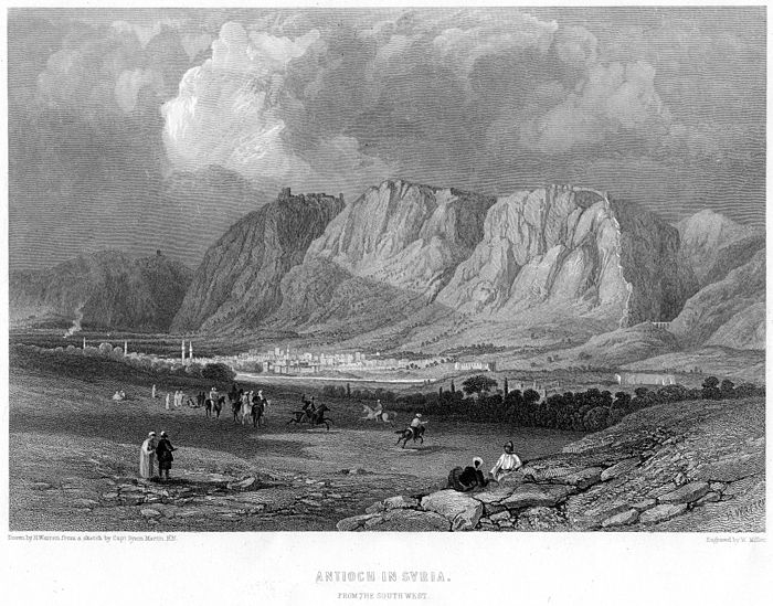 Antioch from the southwest (engraving by William Miller after a drawing by H. Warren from a sketch by Captain Byam Martin, R.N., 1866) Antioch in Syria engraving by William Miller after H Warren.jpg