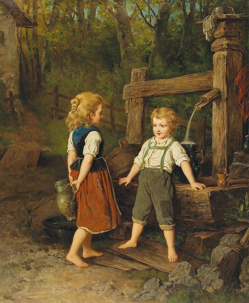 Антон Эберт (attr.) - Дети в Well.jpg
