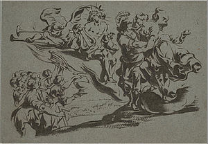 Monotyping - Mythological scene with Apollo, Fame, and the Muses by Antoine Sallaert
