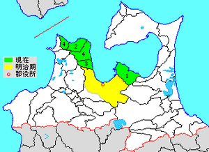 Higashitsugaru District, Aomori - Map showing original extent of Higashitsugaru District in Aomori Prefecture  green - current yellow - former extent in early Meiji period  1. - Hiranai  2. – Imabetsu 3. - Kanita  4. – Sotogahama