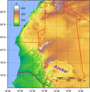 Aoukar - Image: Aoukar Mauritania Topography