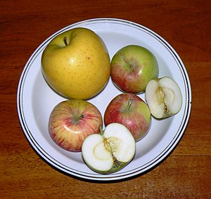 Four apples from the cultivar 'Petrovka', comp...