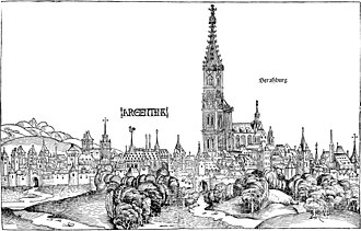 Arnolt Schlick - A view of Strasbourg Cathedral from Hartmann Schedel's Weltchronik (Nuremberg 1493). Schlick visited as organ consultant in 1491 and around 1512; Strasbourg was one of the cities where organ builders were probably influenced by Schlick.