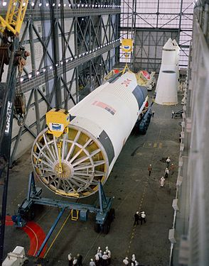 Arrival of the Apollo 10 S-IC stage.jpg