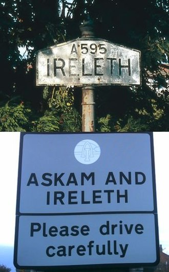 Askam and Ireleth - An old Ireleth sign with a modern combined sign