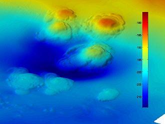 Asphalt volcano - A bathymetric depiction of the seven asphalt volcanoes discovered west of Santa Barbara in 2007.