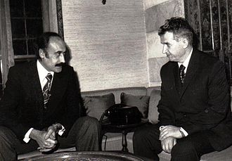 Assem Qanso - Qanso (left) with Romanian communist leader Nicolae Ceaușescu (right) in 1974