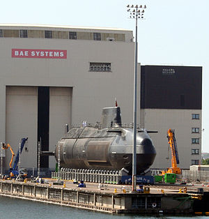 Astute-class submarine - Astute on the shiplift after her launch ceremony