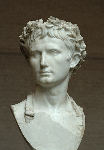 Bust of Augustus wearing the Civic Crown at Palazzo Bevilacqua in Verona, Italy Augustus Bevilacqua Glyptothek Munich 317.jpg