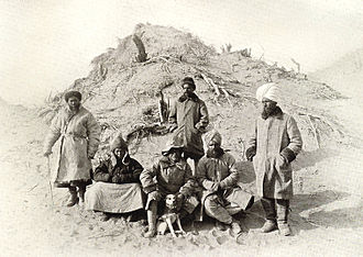 Aurel Stein - Photograph of Aurel Stein, with his dog and research team, in the Tarim Basin