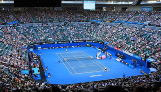 Plexicushion - Rod Laver Arena, the center court of the Australian Open with a Plexicushion surface.