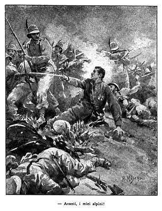 Battle of Adwa - Italian illustration of Alpini soldiers at Adwa
