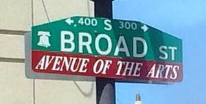 Avenue of the Arts (Philadelphia) - Avenue of the Arts street sign
