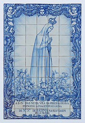 """Our Lady of Fátima"". Ceramic tiles (Azulejo) at Ribeira Brava, Madeira"
