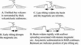 Back-arc basin - Cross-section sketch showing the development of a back-arc basin by rifting the arc longitudinally. The rift matures to the point of seafloor spreading, allowing a new magmatic arc to form on the trenchward side of the basin (to the right in this image) and stranding a remnant arc on the far side of the basin (to the left in this image).