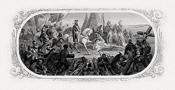 Girsch's gravure van DeSoto Discovering the Mississippi