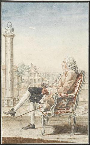 Hôtel de Soissons - Louis Petit de Bachaumont watching over the Medici column during the destruction of the Hôtel de Soissons in 1748, by Louis Carrogis Carmontelle