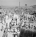 Badgasten op het strand, op de voorgrond een rij strandstoelen, Bestanddeelnr 255-1954.jpg