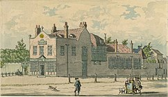 A watercolour painting showing the exterior of Bagnigge Wells spa