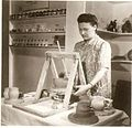Bailey Leslie at the Wheel - First Demonstration by the Canadian Guild of Potters at Eaton's College Street Store, Toronto 1940.jpg