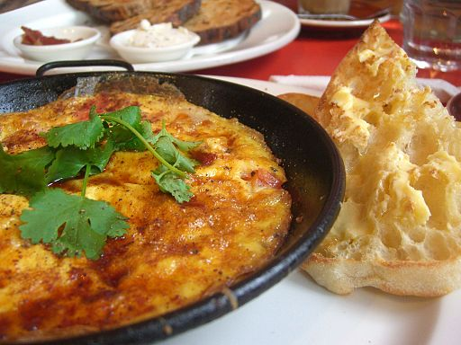Baked Moroccan Omelette with Haloumi, Tomatoes and Capsicums