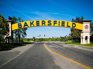 The Bakersfield Sign, once spanning the old St...