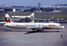 Balkan Bulgarian Airlines Il-18V LZ-BEL LBG August 1974.png