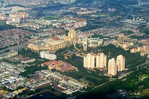 Bandar Sunway - Aerial view of Sunway (looking northeast) in February 2011