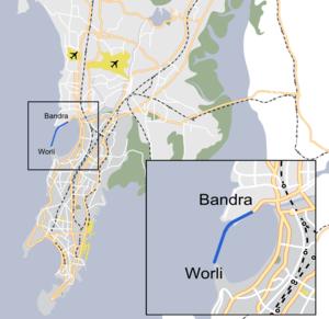Map of Bandra-Worli Sea Link in Mumbai, India