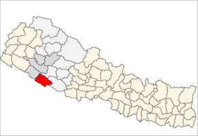 Banke District i Bheri Zone (grå) i Mid-Western Development Region (grå + lysegrå)