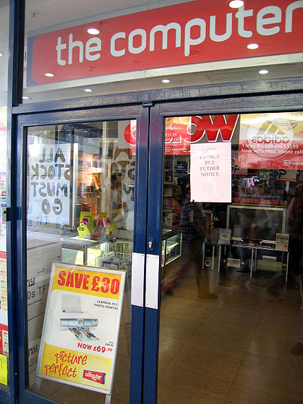"Notice of closure attached to the door of a Computer Shop outlet the day after its parent company declared ""bankruptcy"" (strictly, put into administration) in the United Kingdom Bankrupt computer store.jpg"