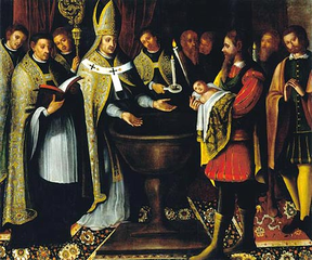 Baptism of D. Afonso Henriques by S. Geraldo, Archbishop of Braga