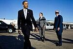Barack Obama says goodbye to former President George H. W. Bush and former Secretary of State James A. Baker, 2009