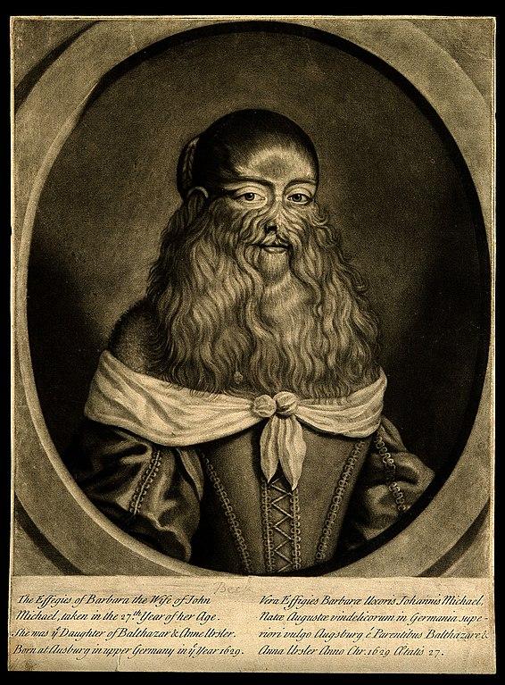Le portrait de la femme à barbe 566px-Barbara_Vanbeck%2C_a_very_hairy_woman._Mezzotint._Wellcome_V0007285