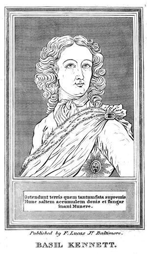 Basil Kennett - Woodcut portrait of Prince William, Duke of Gloucester from the dedication in Kennett's Romæ Antiquæ Notitia