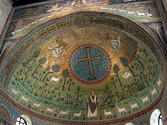 Transfiguration of Jesus in Christian art - A more symbolic representation in the Basilica of Sant'Apollinare in Classe in Ravenna, 533–549, where the lambs represent apostles