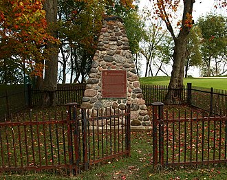 Battle of Fort George - A cairn at Battlefield of Fort George National Historic Site.
