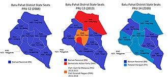 Batu Pahat District - Comparison of the state seat results in Batu Pahat district with PRU-12 (year 2008), PRU-13 (year 2013) and PRU-2014 (year 2018)