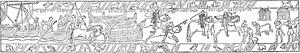 Horse transports in the Middle Ages - Image: Bayeuxtapeten, Norrmannerna landstiga på Englands kust och tåga mot Hastings, Nordisk familjebok