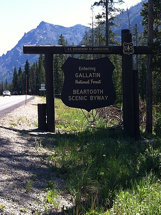 Gallatin National Forest - Sign marking entry to Gallatin National Forest along Beartooth Highway (US-212)