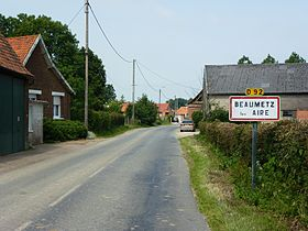 Beaumetz-lès-Aire (Pas-de-Calais, Fr) city limit sign.JPG