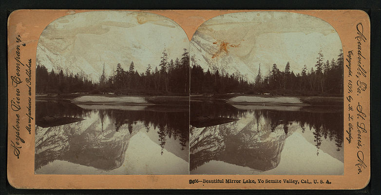 Beautiful Mirror Lake, Yosemite Valley, Cal. U.S.A, by Singley, B. L. (Benjamin Lloyd) 6.jpg
