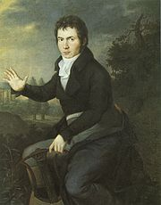 A painting depicting Beethoven with a lyre-guitar.