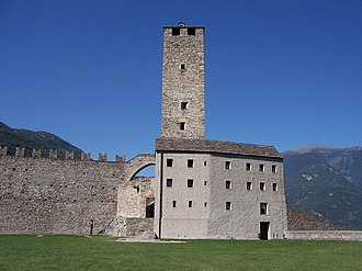 Castles of Bellinzona - The Torre Bianca or white tower of Castelgrande