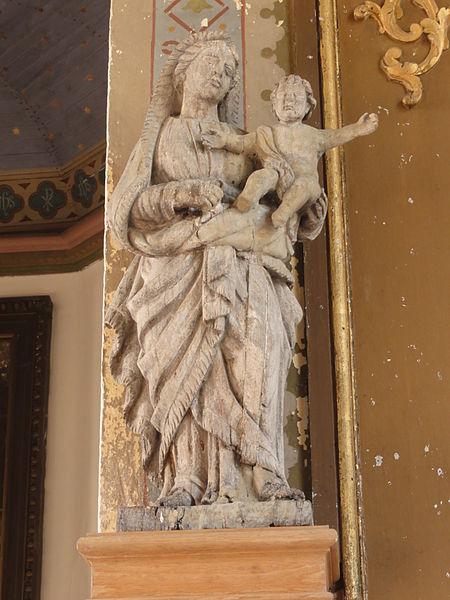 Belrupt-en-Verdunois (Meuse) église, statue Vierge et Enfant